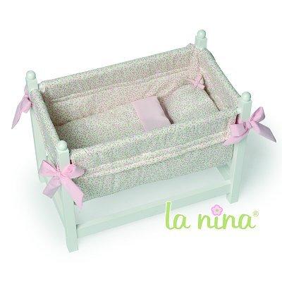 La Nina Lit bois blanc pour poupée - Fleurs roses : Laura