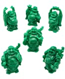 Set of 6 Faux Jade Finish Mini Happy Buddha Statues
