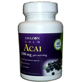 Acai Berry Fruit Capsules- Easy to Swallow- Amazon Gold-now with 1200 Mg Per Serving-60 Capsules- Powerful Antioxidant- Great for Diet & Weight Loss