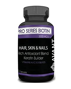 Pro Series Biotin (3,000 mg) Premium Anti-Oxidant Blend | Promotes Healthy Hair, Skin and Nails In Men & Women | Prevent Hair Loss, Wrinkles and Weak Nails | 100% Natural | Made in USA | 30 ct