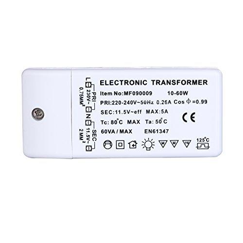 Liqoo® AC 12V 10W-60W Trasformatore Elettronico di Alogeni Trasformatore per lampade alogene