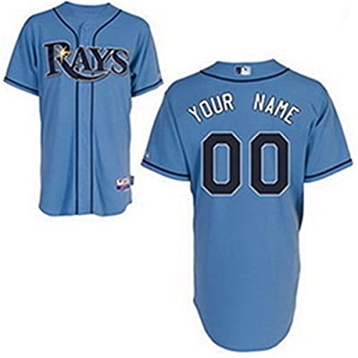 ZC Star Men's Tampa Bay Rays Custom Jersey Alternate Light Blue Size S-3XL