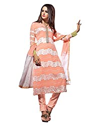 Lookslady Embroidered Pink Georgette Semi Stitched Salwar Suit