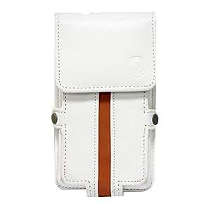 Jo Jo A6 Nillofer Series Leather Pouch Holster Case For Karbonn Titanium Mach Six White Orange