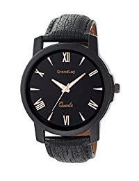 GRANDLAY GL-1045 BLACK LEATHER ANALOG WATCH FOR MEN
