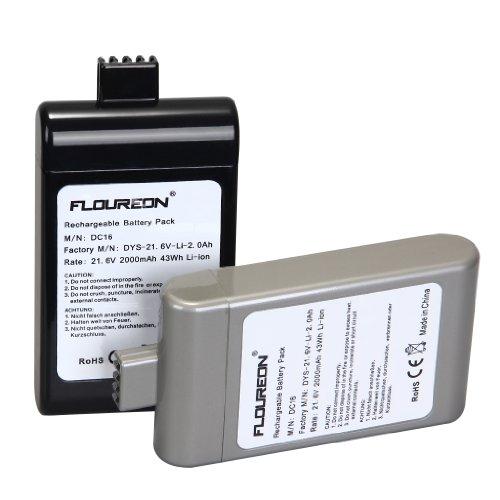 Floureon 2000mAh Vacuum Cleaner Batteria per Dyson DC16 BP01 Dyson 12097, 912433-01, 912433-03, 912433-04, 21.6V Li-ion Nera