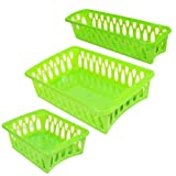 Set of 3 Mini Plastic Organizer Baskets in Assorted Shapes (GREEN)