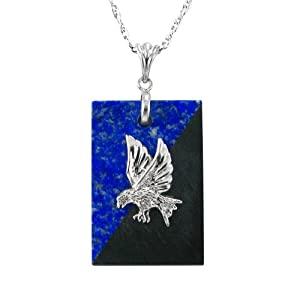Sterling Silver Lapis and Hematite Eagle Pendant Necklace , 18""