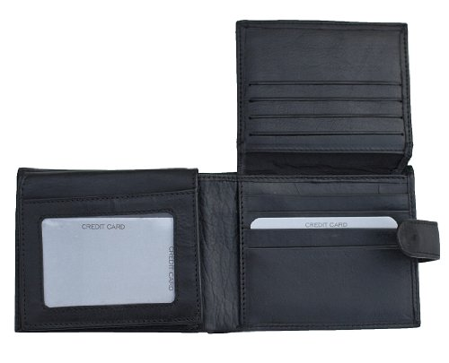 Black Leather wallet - credit card / business card holder by Prime Hide