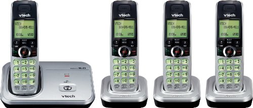 VTech CS6319-4 4-Handset Cordless Phone System with Caller ID and Handset Speakerphones (Silver with Black Trim)