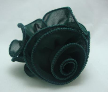 NEW Hunter Green Chiffon Rose Pony Tail Holder, Limited.