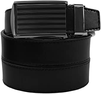 "SlideBelts - Bar Striped Buckle with Black Leather (46-50"")"