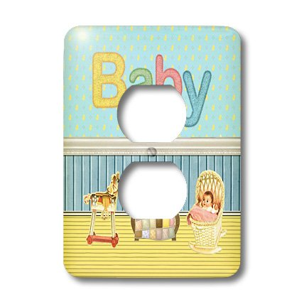 Lsp_192577_6 Beverly Turner Baby Stuff Design - Baby Room With Baby In Bassinet, Rocking Horse, And Quilt On Baby Bed - Light Switch Covers - 2 Plug Outlet Cover front-276598