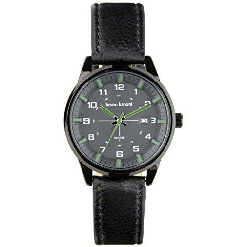 Bruno Banani BR30009Okan Watch Men's Watch Leather Strap Metal 30m Analog Date-Black
