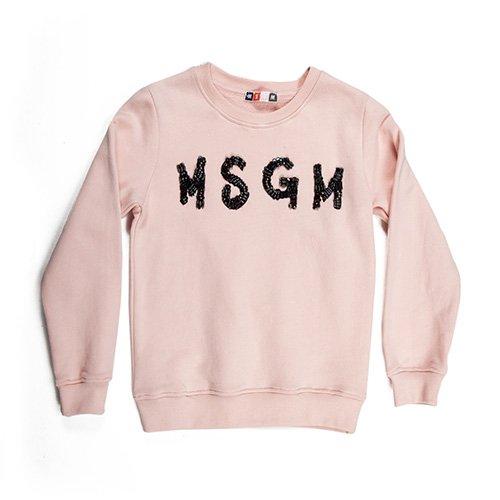 Felpa ragazza rosa girocollo MSGM 007285 (10, Rosa)