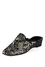 Classic Collection Paisley Embroidered Wedge Mule Slippers