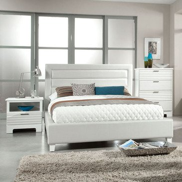 Standard Furniture Action 3 Piece Upholstered Bedroom Set in White PVC