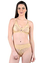 AnS Enterprise Women's Net and Synthetic Material Bra & Penty in Gold Color- 32