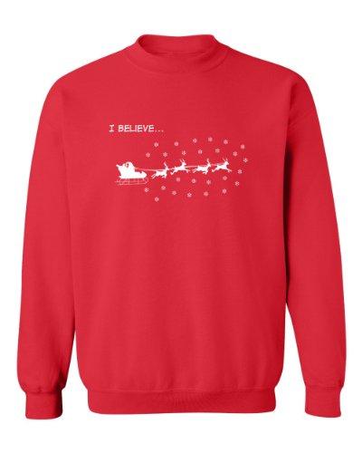 Festive Threads I Believe... (Santa Sleigh & Reindeer) Adult Sweatshirt (Red, 3Xl)