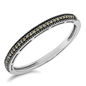 0.08 Carat (ctw) 10k Gold Brown Diamond Anniversary Stackable Band Petite Dainty Wedding Fashion Ring - White-gold, Size 7