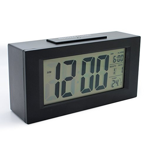 JCC Smart Light Series Sensor Intelligent Backlight Large LCD Digital Alarm Clock Theremometer Calendar Bedside Desk Alarm Clock (Black)