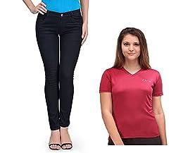 Oleva Women combo set of 2 (denim Black jeans and Maroon T-Shirt )