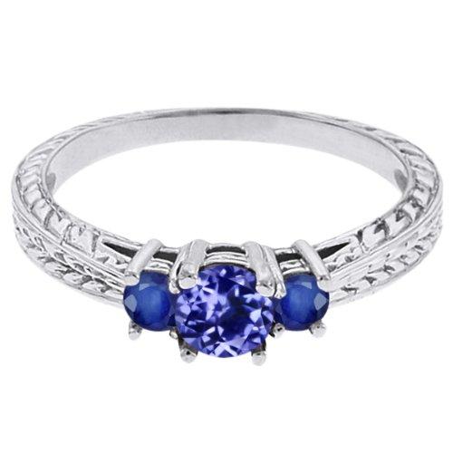 0.56 Ct Round Blue Tanzanite Sapphire 18K White Gold 3-Stone Ring