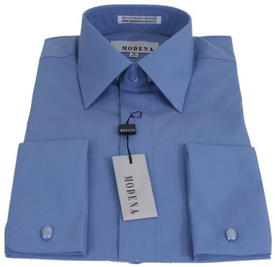 Dress shirts mens modena solid cadet blue french cuff for 20 34 35 dress shirts
