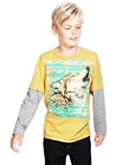 Pure Cotton Embroidered Wolf T-Shirt
