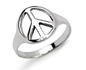 Sterling Silver Peace Sign Ring Size 5
