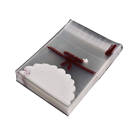 100 pcs Lovely lace bow Print Gifts Bags Christmas Cookie packaging self-adhesive plastic bags (Decorative Packaging compare prices)