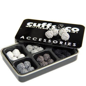 6 Shades of Grey Silk Knot Cufflinks Gift Set