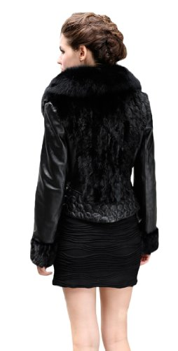 Queenshiny Women's 100% Real Mink Fur and Sheep Leather Coat Jacket with Big Fox Collar-Black-XS(0-2..