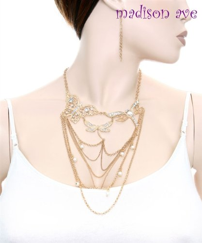 Fashion Gold Butterfly with Rhinestone,pearl and Chain Drop Neck./earrig Set