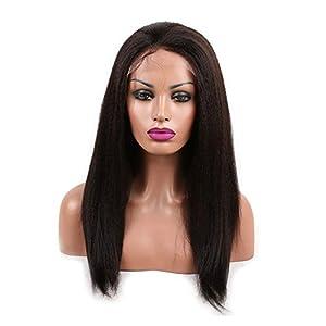 Cupidlovehair Kinky Straight Coarse Italian Yaki Brazilian Virgin Remy Hair Full Lace Front Wigs Natural Black 1B (Hair Length 22