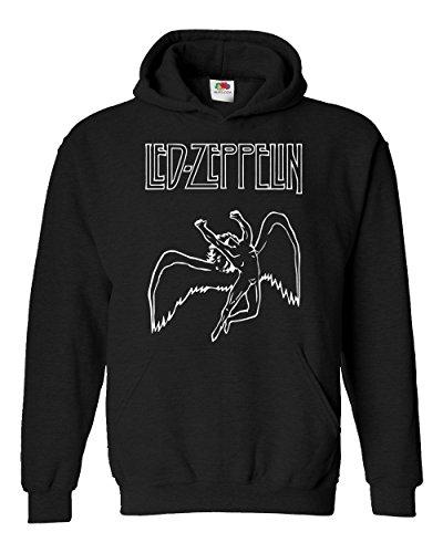 "Felpa Unisex ""Led Zeppelin - Angel"" - Felpa con cappuccio rock band LaMAGLIERIA, L, Nero"