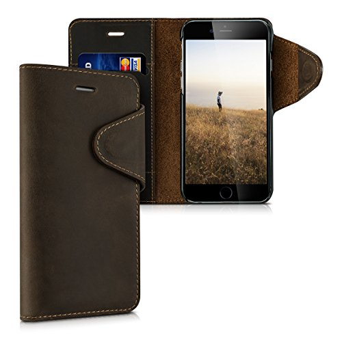 kalibri-Echtleder-Wallet-Hlle-fr-Apple-iPhone-6-6S-Case-mit-Fach-und-Stnder-in-Braun