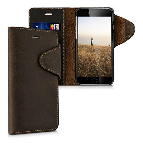 kalibri-Echtleder-Wallet-Hlle-fr-Apple-iPhone-6-6S-Case-mit-Fach-und-Stnder-in-Braun