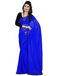 Balaji Women's Chiffon Saree(Mb56014,Blue)