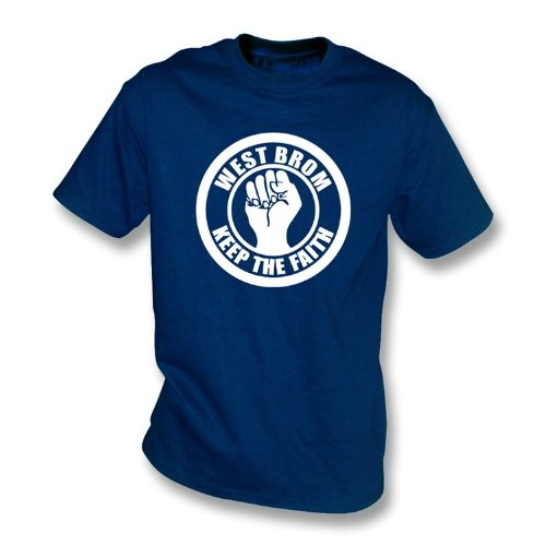 PunkFootball West Brom Keep the Faith T-shirt Small, Color Navy