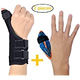 BodyMoves Thumb Spica Splint Wrist Brace Plus Finger Hot and Cold Gel Pack- for de quervain's tenosynovitis, Tendonitis, Trigger Thumb,Carpal Tunnel, CMC Adjustable and Reversible(Left and Right Hand)