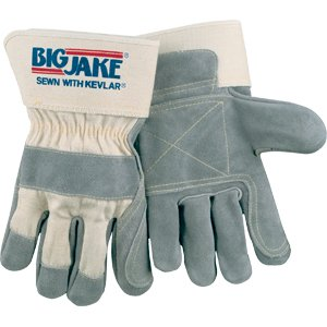 Safety Gloves - BIG JAKE® Double Leather Palm, Sewn w/KEVLAR® - Lot of 12 - X-Large