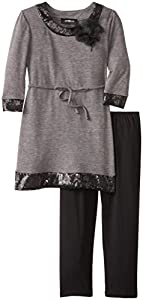 Amy Byer Big Girls' Solid Sequin Legging Set, Charcoal, Small
