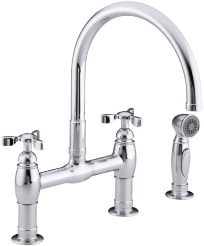 KOHLER K-6131-3-CP Parq Deck-Mount Kitchen Faucet with Spray, Polished Chrome