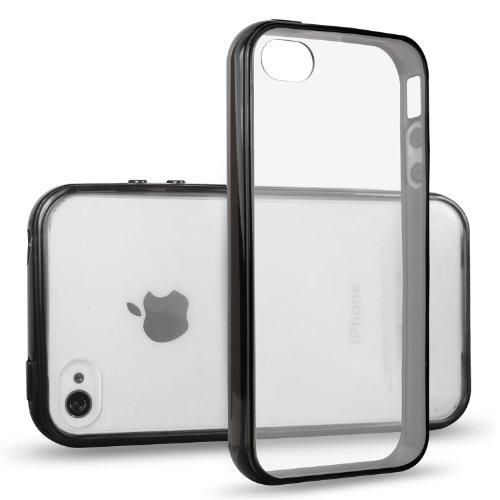 JETech® iPhone 4/4S Case Coque Housse Etui Shock-Absorption Bumper et Anti-Scratch Effacer Back pour Apple iPhone 4 4S (Noir)
