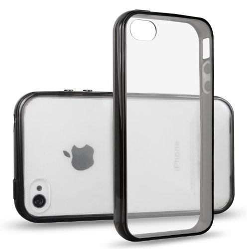 iPhone 4s Case, JETech iPhone 4 4s Case Bumper Shock-Absorption Bumper and Anti-Scratch Clear Back for Apple iPhone 4/4s (Black) - 0511 (Iphone 4s Bumper Black compare prices)