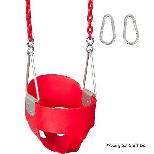 Highback Full Bucket With 5 1/2Ft Coated Chain, Red With Sss Logo Sticker