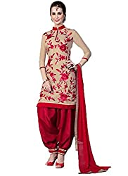 DivyaEmporio Women's Faux Crepe Beige and Red Salwar Suit Dress Material