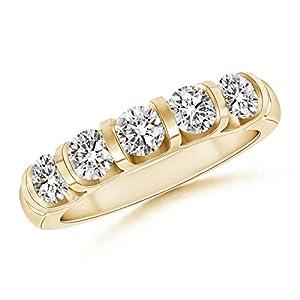 Five Stone Diamond Wedding Band in 14K Yellow Gold