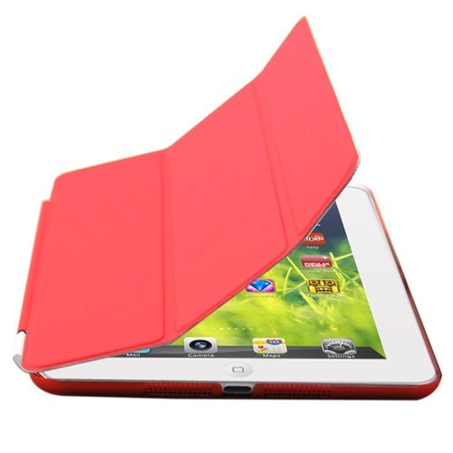 Neway Premium Folio Ultra Thin Magnetic stand Smart Case(include Stand Cover and Back Case)for Apple iPad Air(Support Smart Cover Function) ,Red